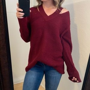 Sweaters - Red Knit V Neck Cold Shoulder Sweater Size Medium